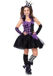 Karneval Tween Mädchen Kostüm Harlekin Darling Jester