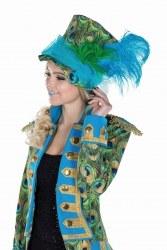 Karneval Damen Hut Zylinder Pfau