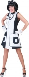 Karneval Damen Kostüm 60er Kleid Blacky-Whity