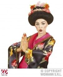 Karneval Damen-Perücke Geisha mit Blumen