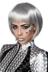 Karneval Damen Perücke Space silber