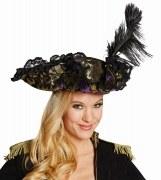 Karneval Damenhut Edel-Pirat lila