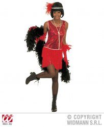 Karneval Damenkostüm Charleston Flapper rot