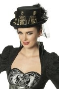 Karneval Halloween Damen Hut Skelett Zylinder