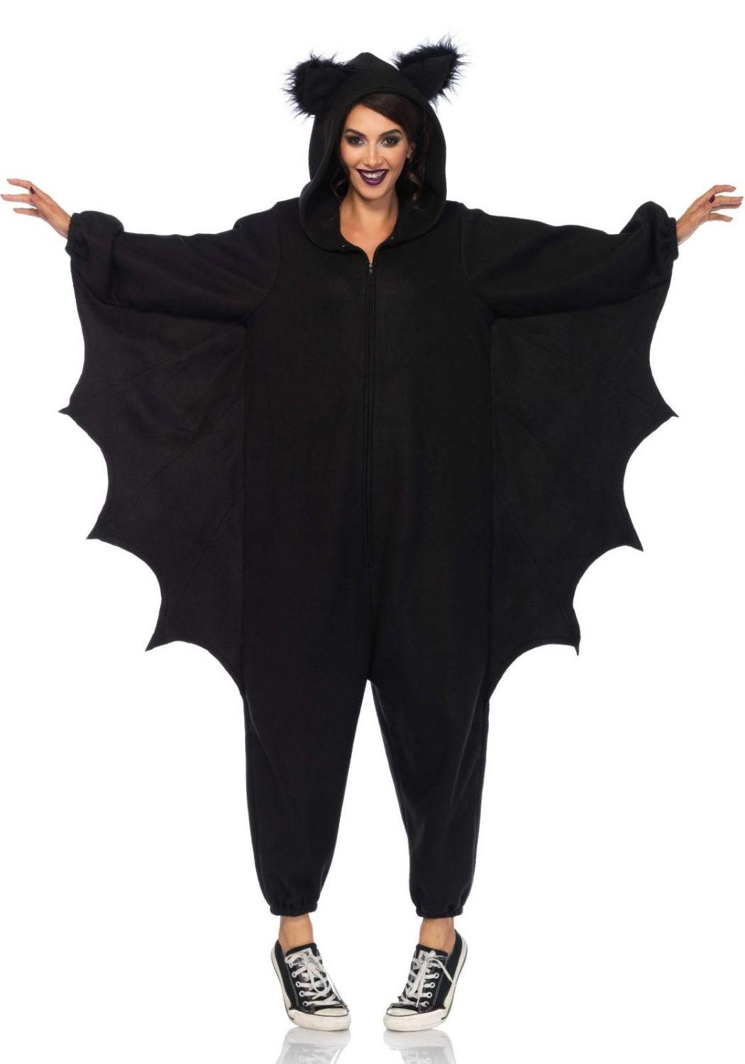karneval halloween damenkost m fledermaus cozy bat onesie. Black Bedroom Furniture Sets. Home Design Ideas