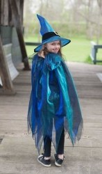 Karneval Halloween Mädchen Hexen-Cape blau