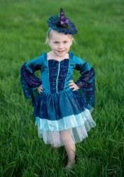 Karneval Halloween Mädchen Kostüm Hexe Blau