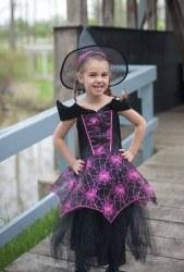 Karneval Halloween Mädchen Kostüm Hexe Pink