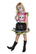 Karneval Halloween Mädchen Kostüm Tag der Toten