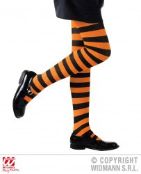 Karneval Halloween Kinder Strumpfhose gestreift orange schwarz