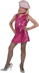 Karneval Mädchen Kostüm Disco-Kleid pink