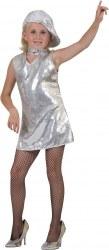 Karneval Mädchen Disco-Kleid silber
