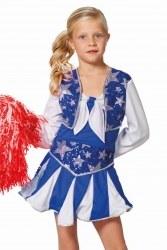 Karneval Mädchen Kostüm Cheerleader Luxus blau