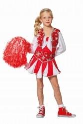 Karneval Mädchen Kostüm Cheerleader Luxus rot