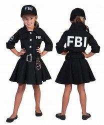 Karneval Mädchen Kostüm FBI-Agent