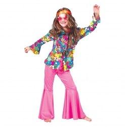 Karneval Mädchen Kostüm Hippie Hose pink