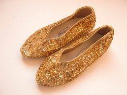 Karneval Schuhe Ballerinas Pailletten gold