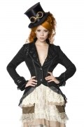 Karneval Steampunk Damen Mantel schwarz