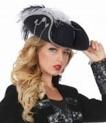Rubies Karneval Damenhut Pirat schwarz silber