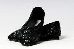Schuhe Ballerinas Pailletten schwarz