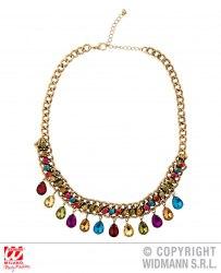 Widmann Halsband Goldene Kette mit farbigen Steinen