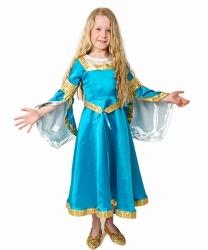 MINISA Mädchen Kostüm Mittelalter Prinzessin FREDIA blau
