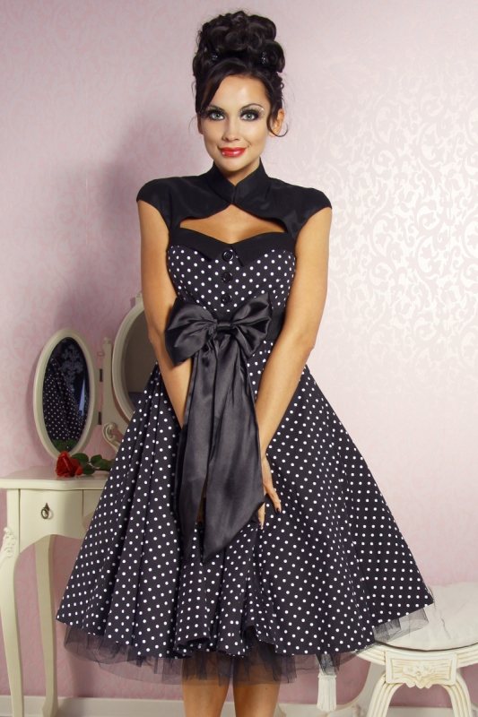 Damen kleid abiballkleid sixties rockabilly dotty faschingskram - Rockabilly outfit damen ...